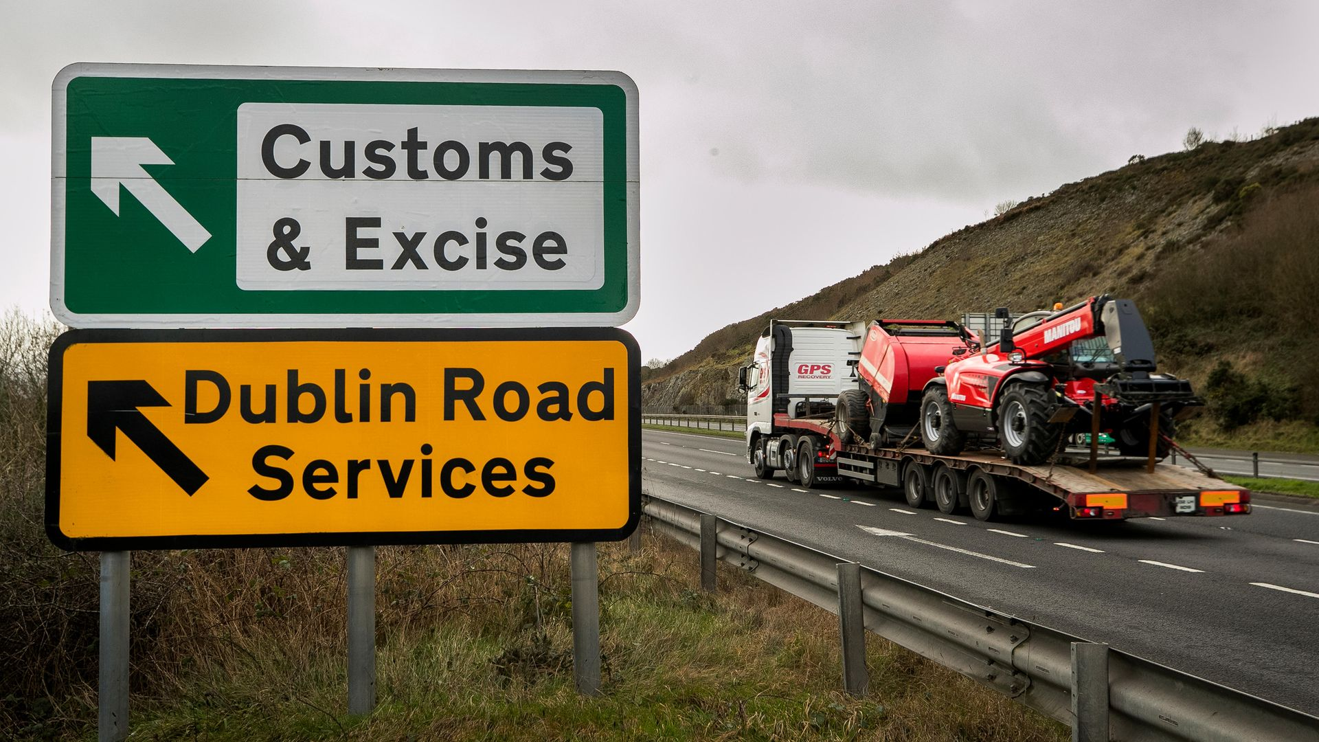 Traffic passing close to the border between Northern Ireland and Republic of Ireland just outside Newry Co. Down - Credit: PA