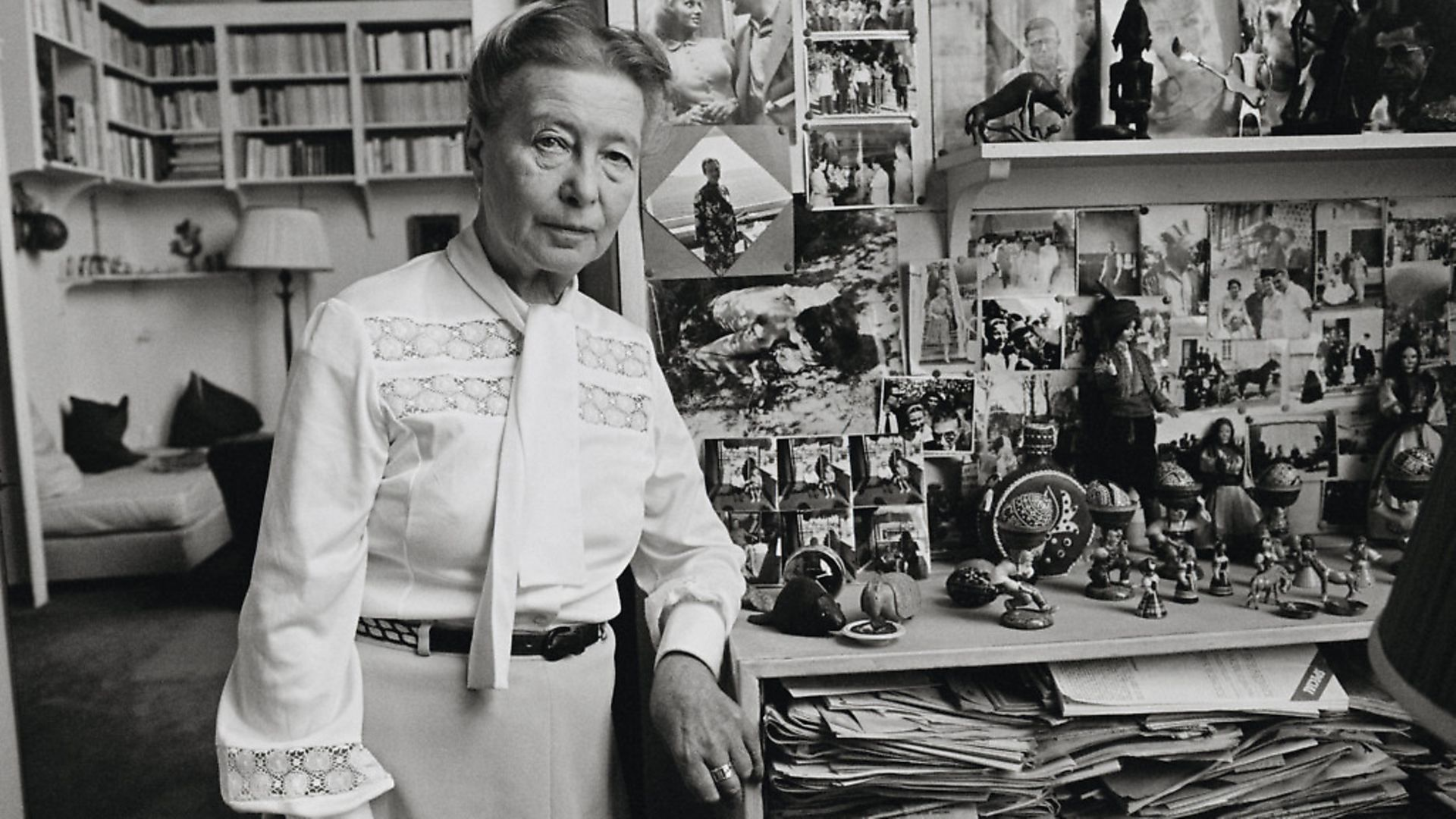 """French author Simon de Beauvoir, 68, in her Parisian apartment. Simone de Beauvoir is renowned for her book """"The Second Sex."""" Picture: Jacques Pavlovsky/Sygma via Getty Images - Credit: Sygma via Getty Images"""