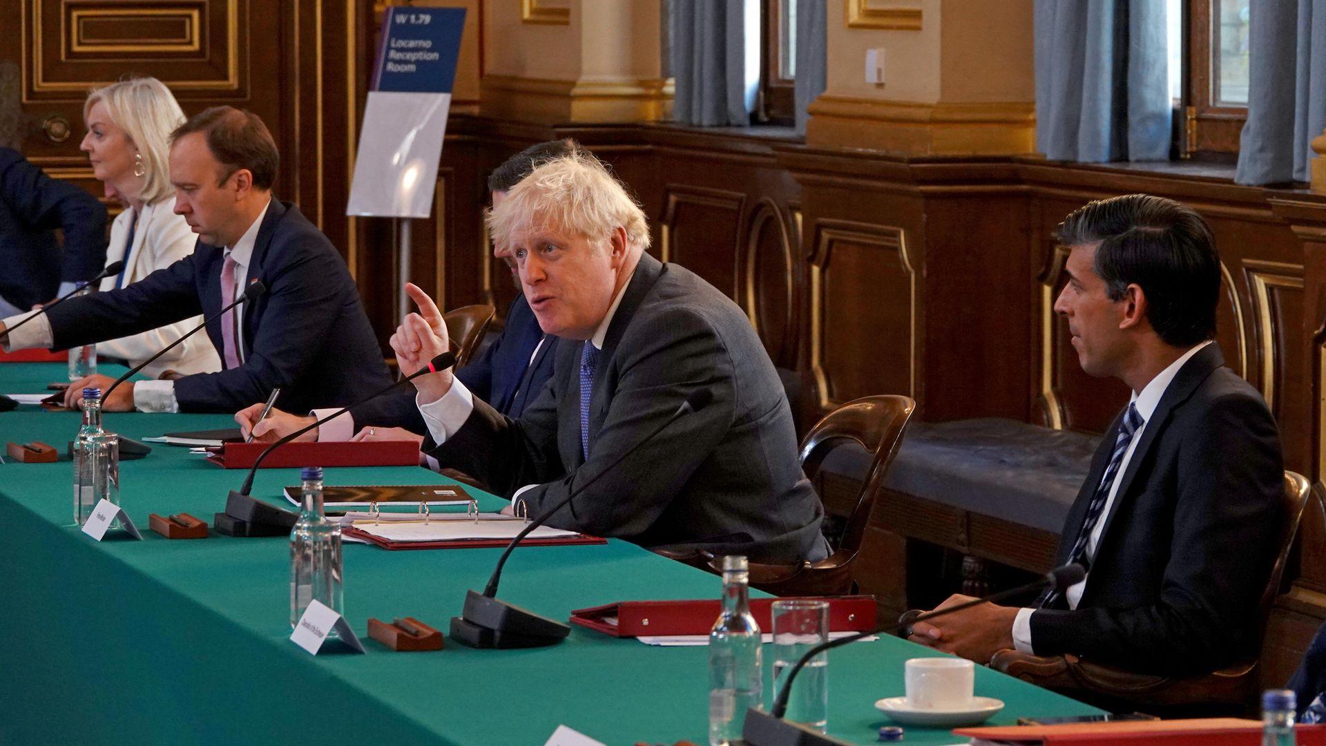 (Left to right) International Trade Secretary Liz Truss, Health Secretary Matt Hancock, Prime Minister Boris Johnson and Chancellor Rishi Sunak - Credit: PA