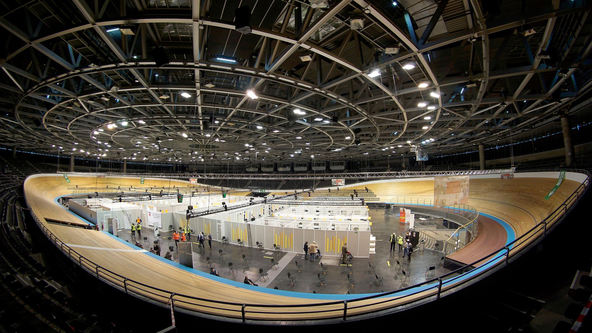 A vaccination centre at Berlin's Velodrom - Credit: POOL/AFP via Getty Images