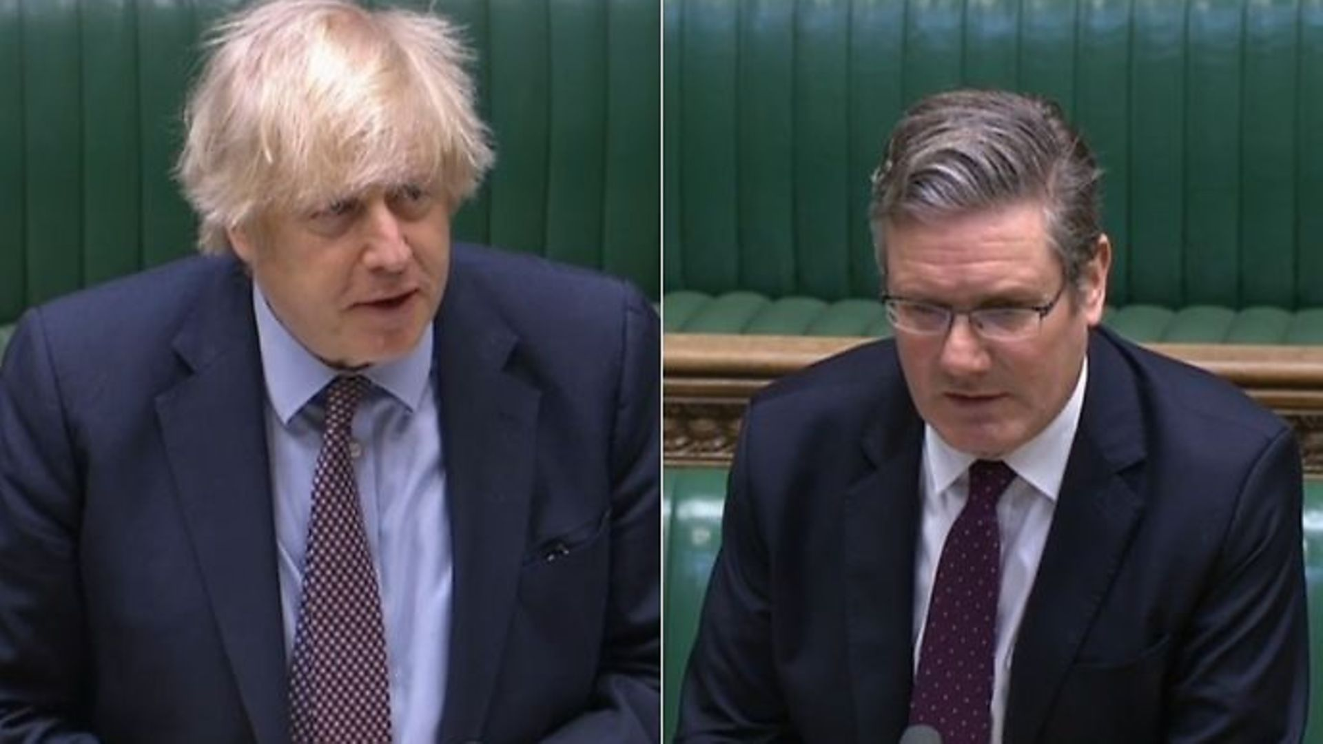 Boris Johnson (L) and Sir Keir Starmer in the House of Commons - Credit: Parliamentlive.tv