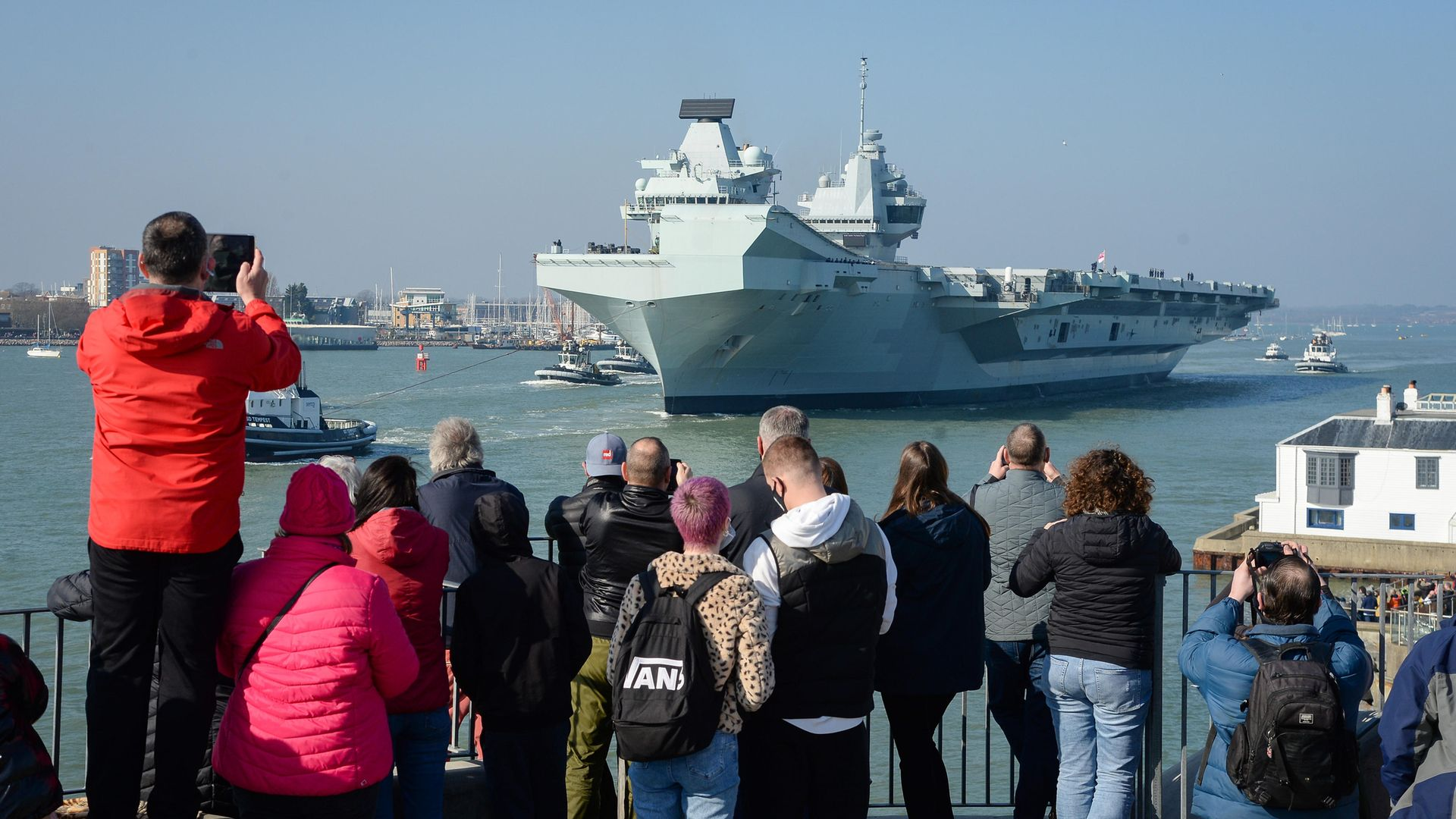HMS Queen Elizabeth departs from Portsmouth on March 1 for sea trials in preparation of her first active deployment - Credit: Getty Images