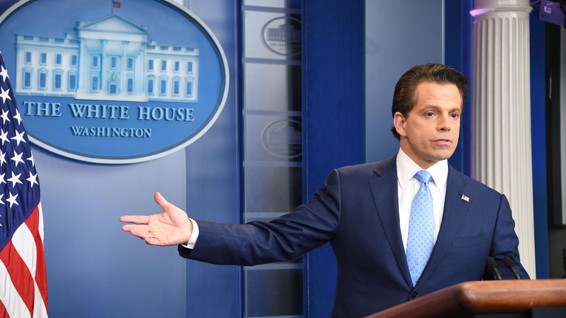 Anthony Scaramucci during his brief spell as Donald Trump's White House communications director - Credit: AFP via Getty Images