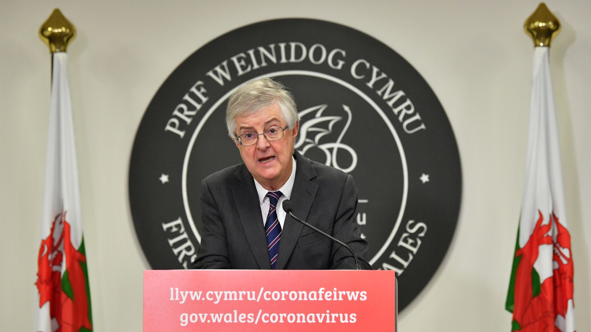 First minister Mark Drakeford speaking at a Covid press conference in Cardiff, Wales - Credit: PA