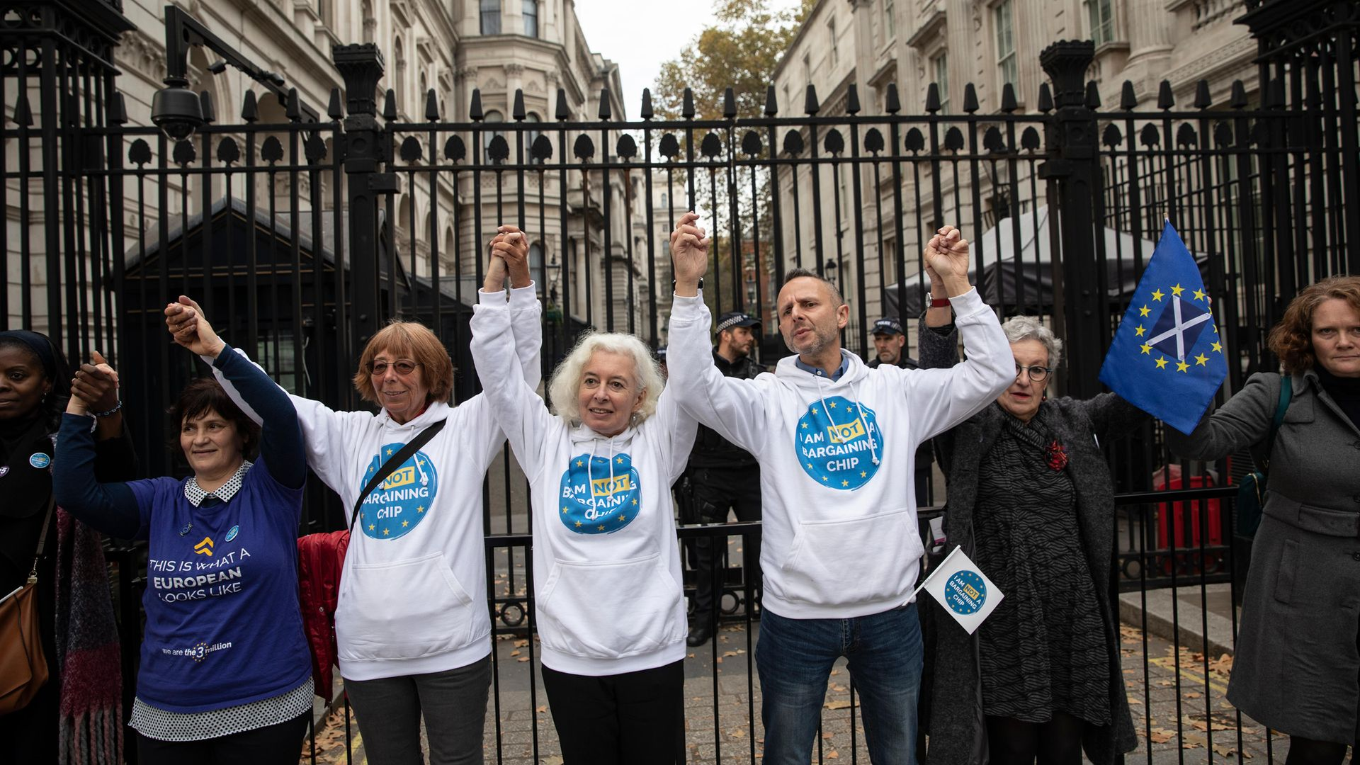 EU nationals, living in the UK take part in a demonstration outside Downing Street - Credit: Getty Images