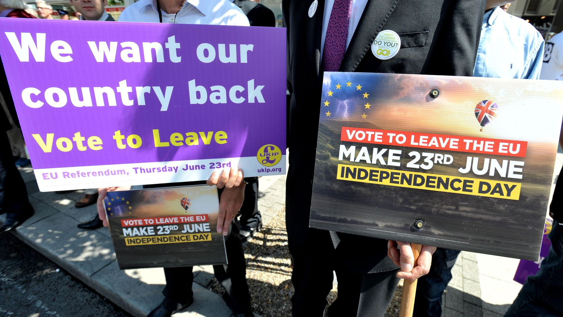 Brexit campaigners in Clacton-on-Sea in Essex back in 2016 - Credit: PA