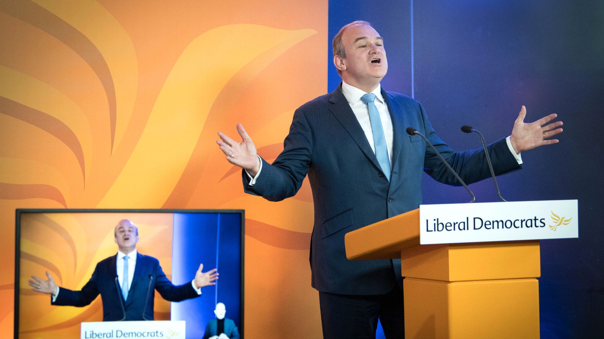 Liberal Democrat leader Sir Ed Davey delivers a keynote speech during an online party conference - Credit: PA