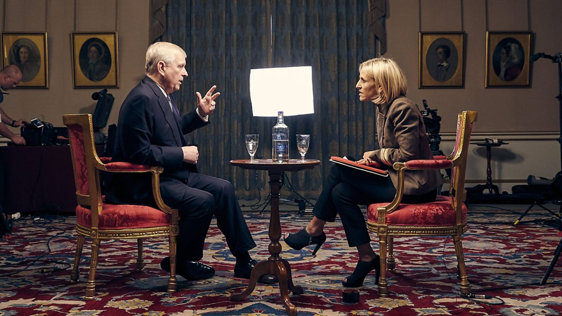 Prince Andrew is interviewed by the BBC's Emily Maitlis - Credit: BBC