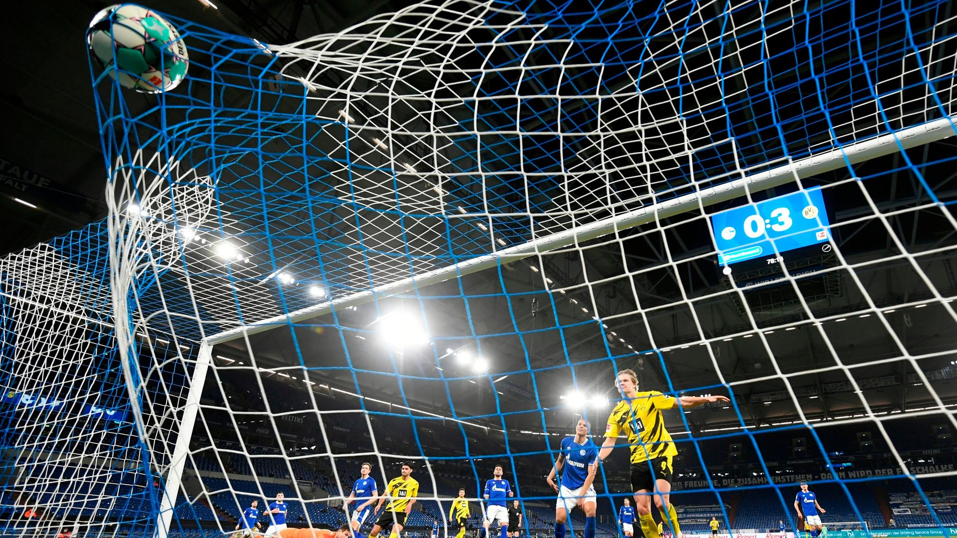 The net bulges as Erling Haaland scores the final goal in Borussia Dortmund's 4-0 win against Schalke 04 on February 20, 2021 - Credit: Ina Fassbender/AFP via Getty Images