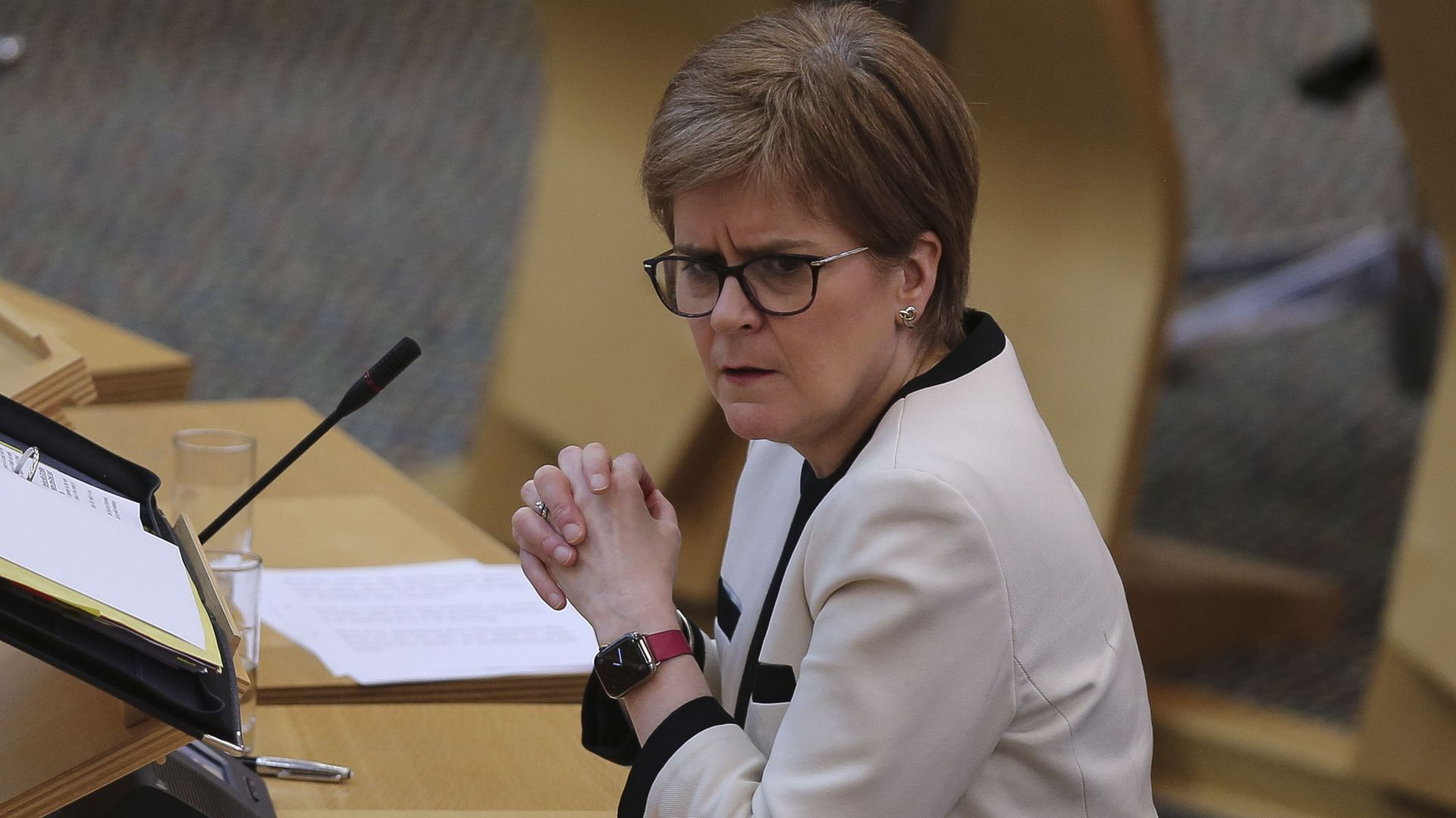 First Minister Nicola Sturgeon during First Minister's Questions at the Scottish Parliament in Holyrood - Credit: PA
