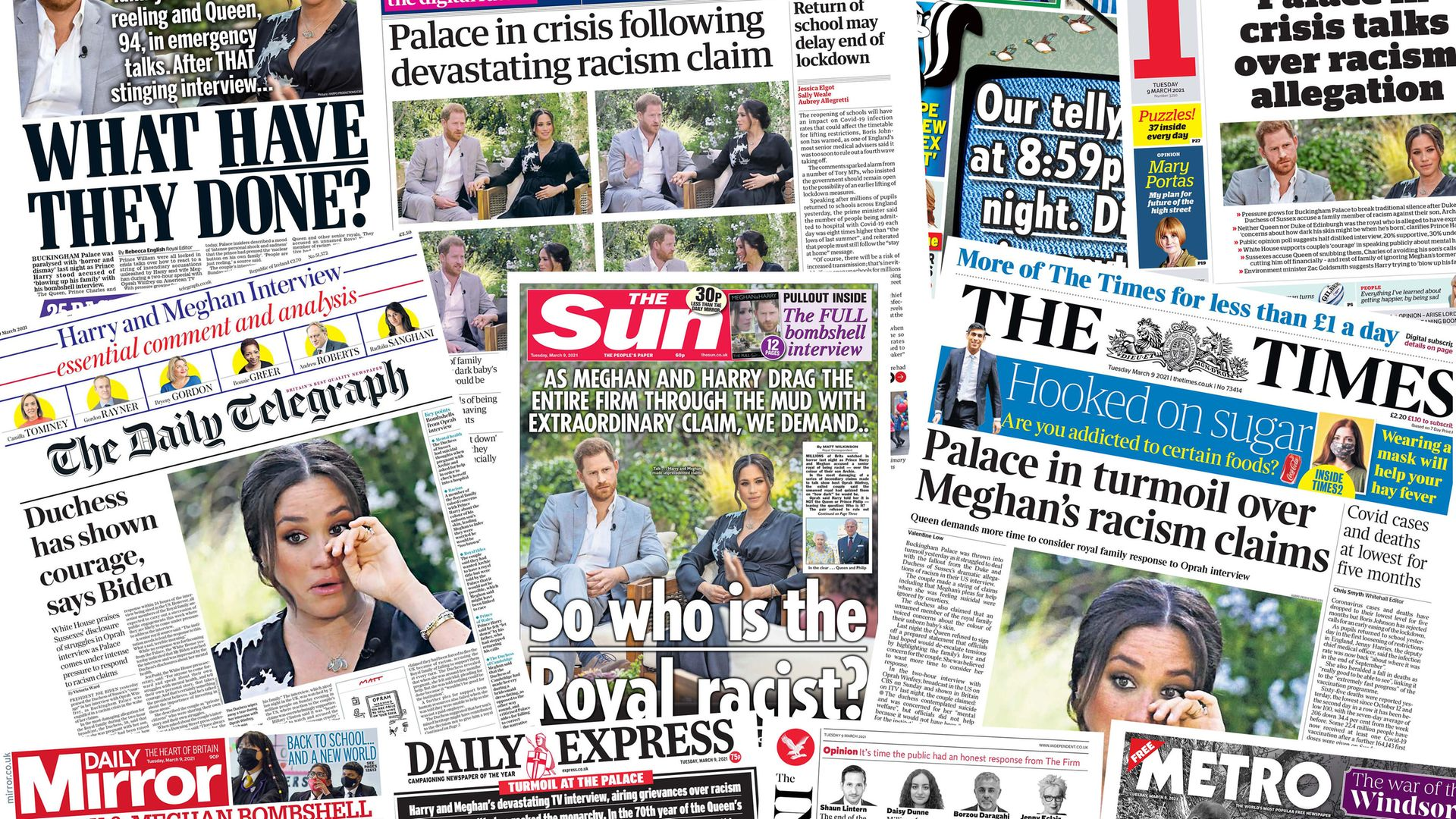 Front pages of UK national newspapers showing the reaction to the interview of the Duke and Duchess of Sussex with Oprah Winfrey. - Credit: PA