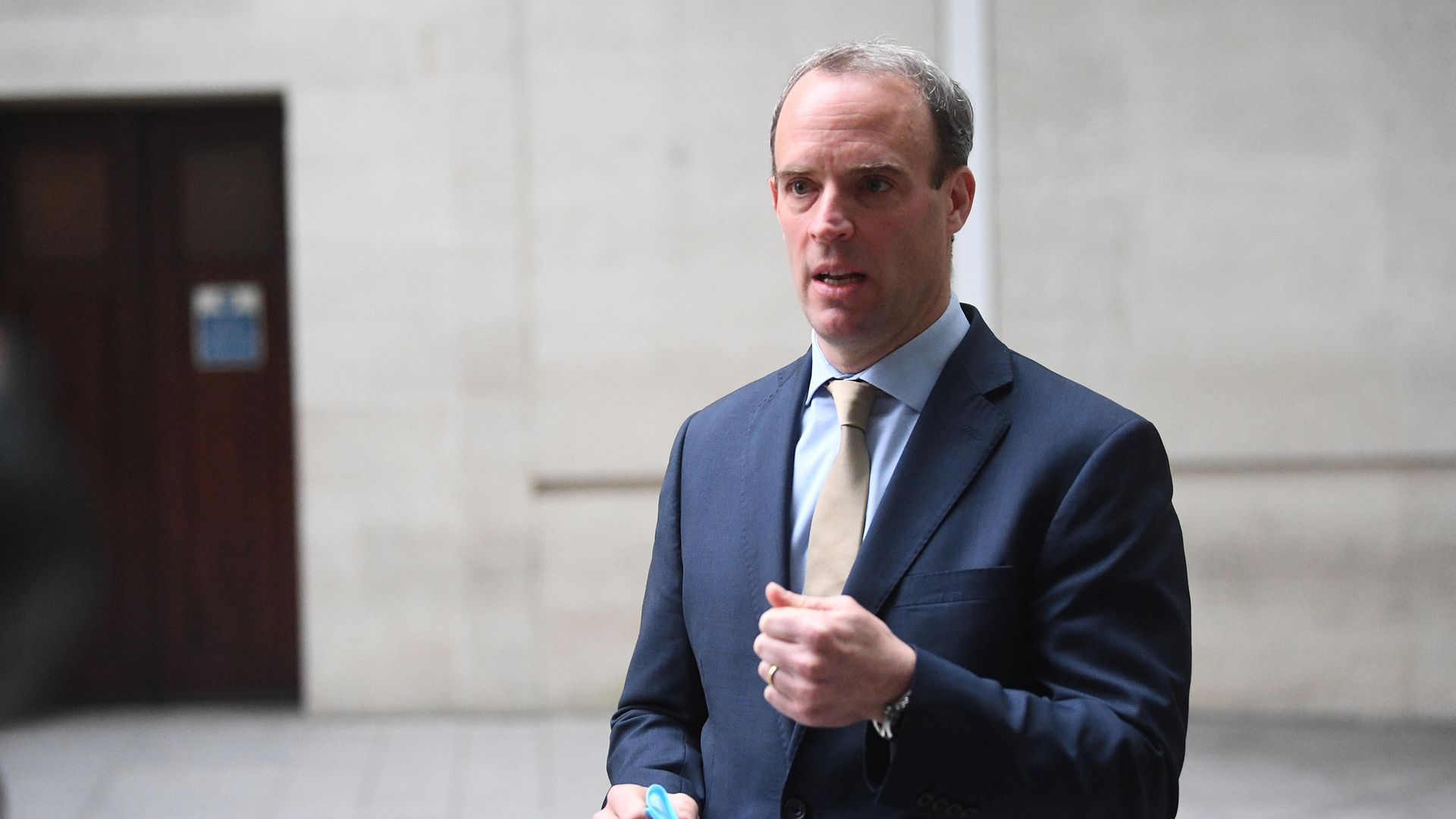 Foreign secretary Dominic Raab speaks to the media outside BBC Broadcasting House in central London - Credit: PA