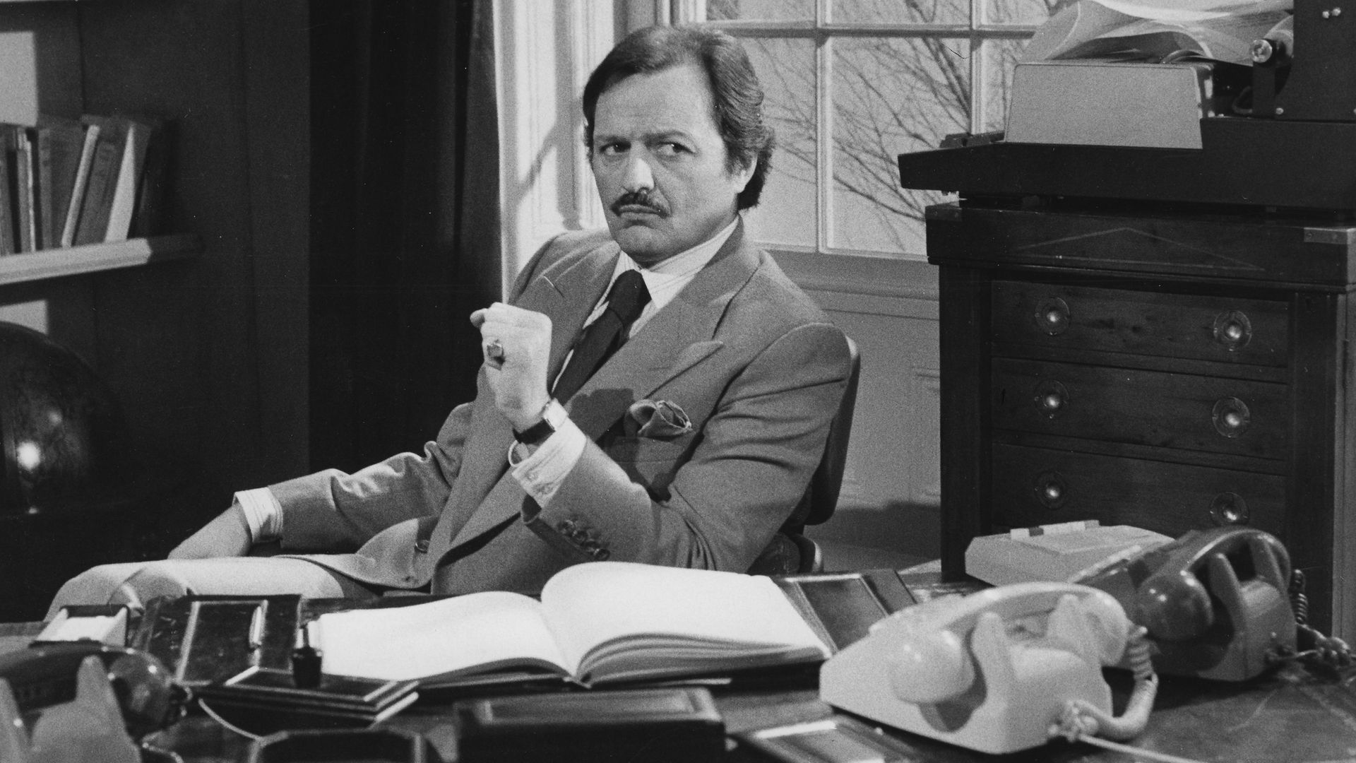 Peter Bowles in a scene from the television sitcom To the Manor Born in 1979 - Credit: Getty Images