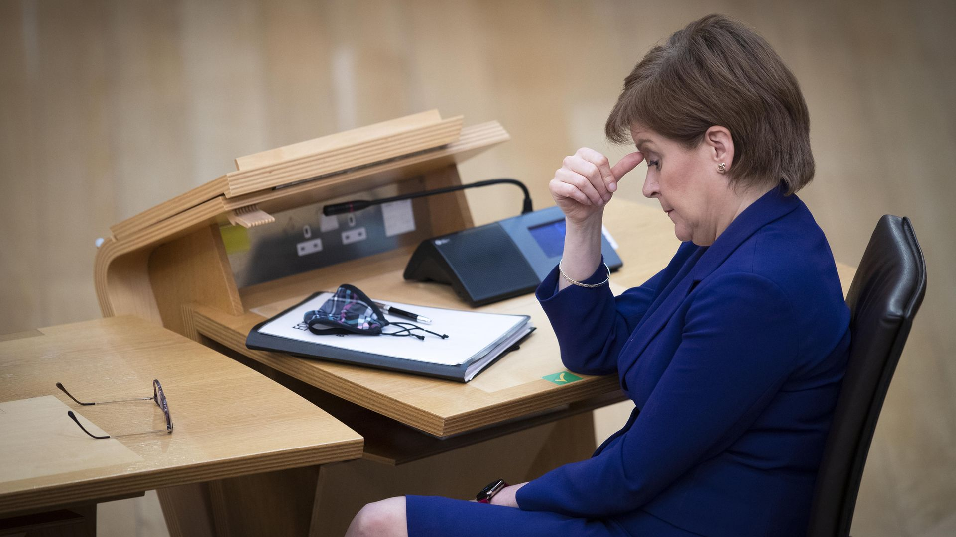 First minister Nicola Sturgeon during the debate ahead of a vote of no confidence against Deputy First Minister John Swinney at the Scottish Parliament in Holyrood, Edinburgh - Credit: PA