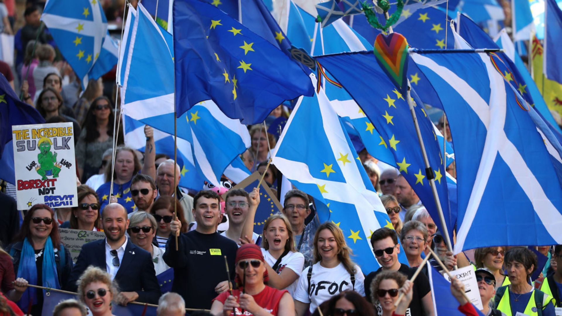 Pro-Europeans on a march in Scotland - Credit: PA