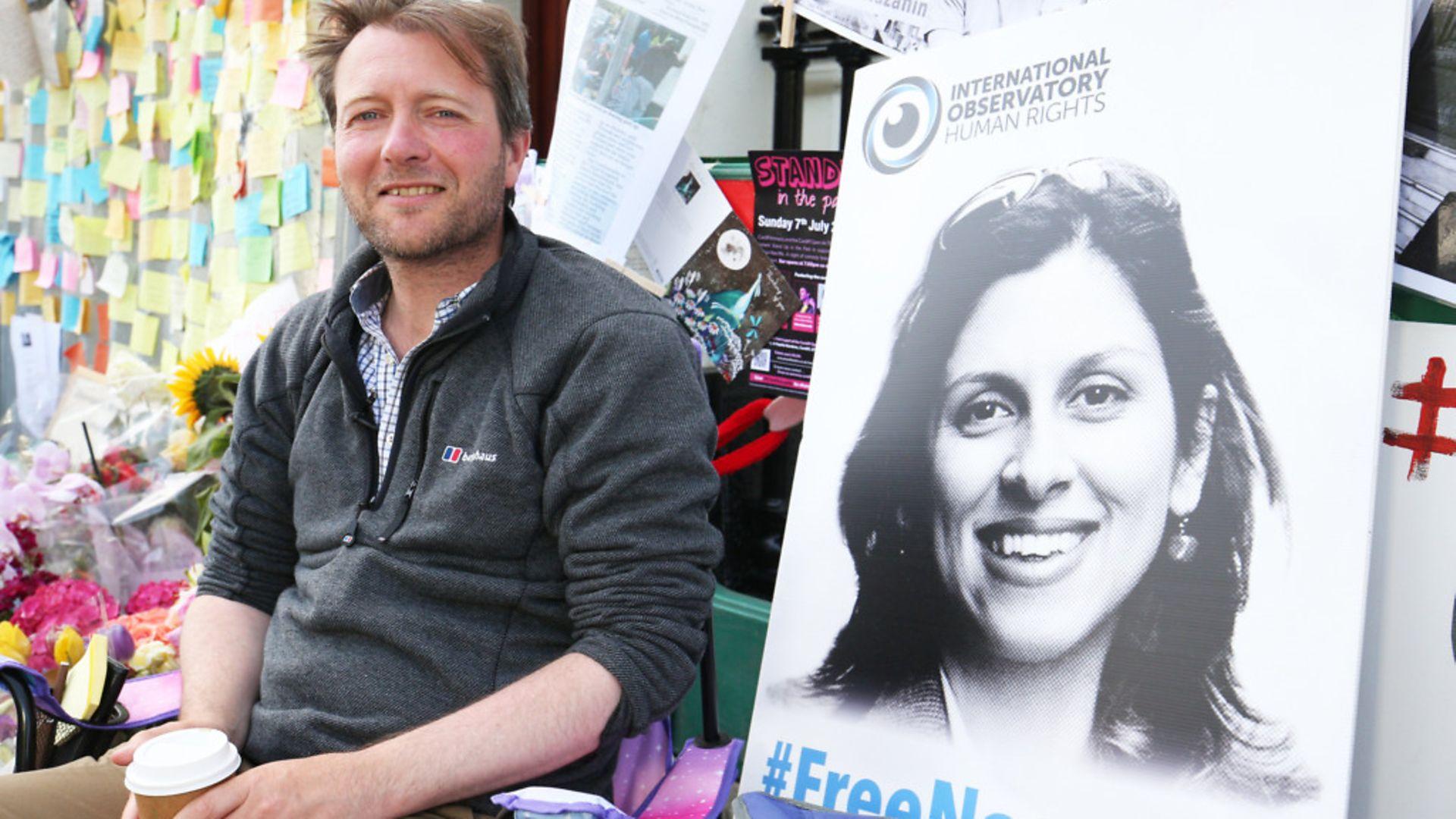 Richard Ratcliffe, the husband of detained Nazanin Zaghari Ratcliffe, outside the Iranian Embassy in Knightsbridge, London - Credit: PA Wire/PA Images