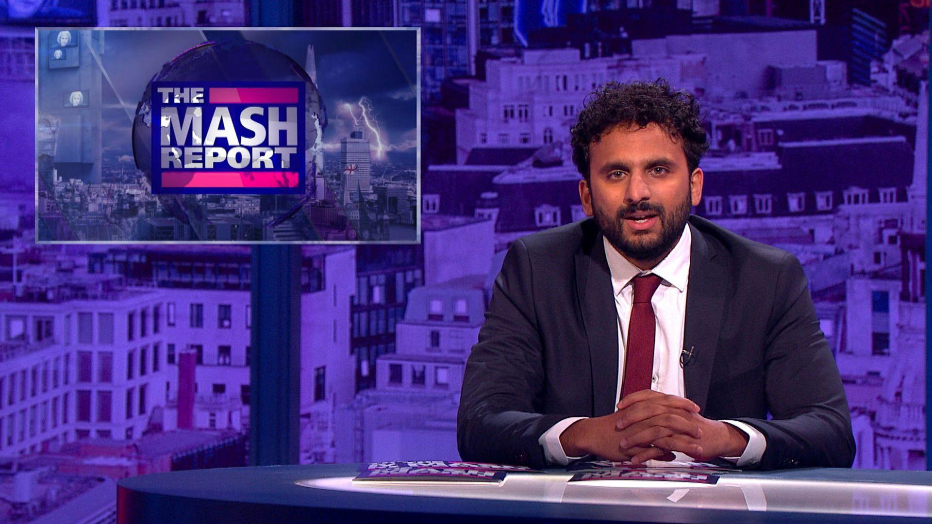 Nish Kumar on the BBC's Mash Report - Credit: BBC