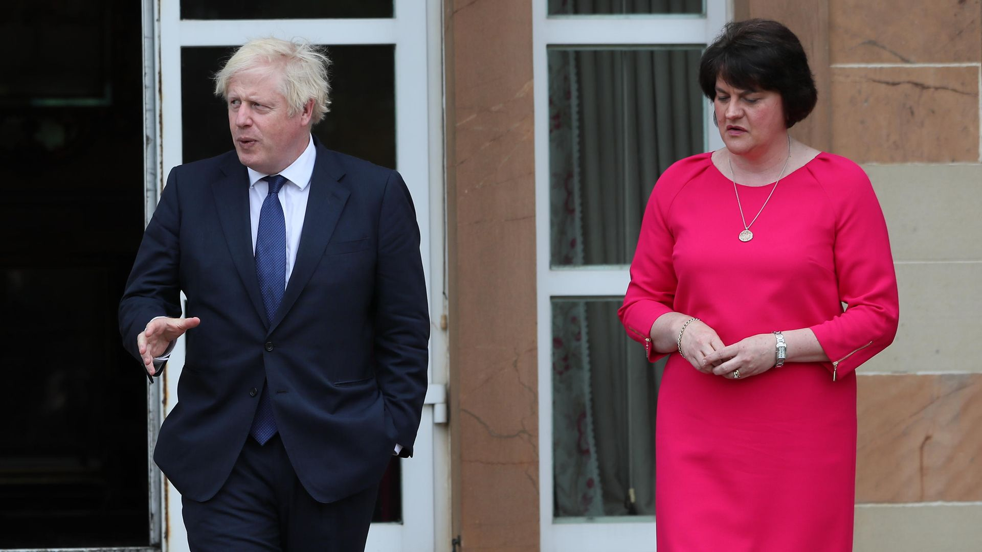 (left to right) Prime minister Boris Johnson and first minister Arlene Foster at Hillsborough Castle during a visit to Belfast - Credit: PA