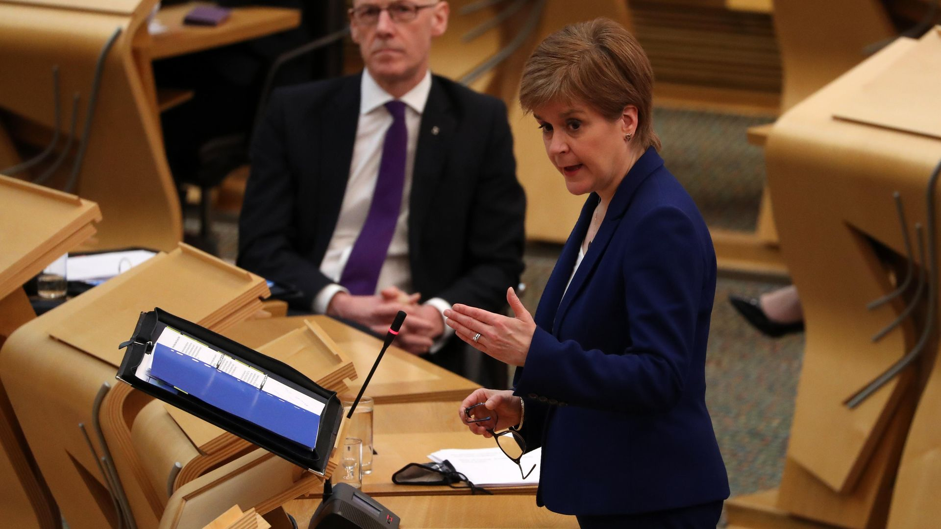 First minister Nicola Sturgeon in the Scottish parliament in Edinburgh - Credit: PA