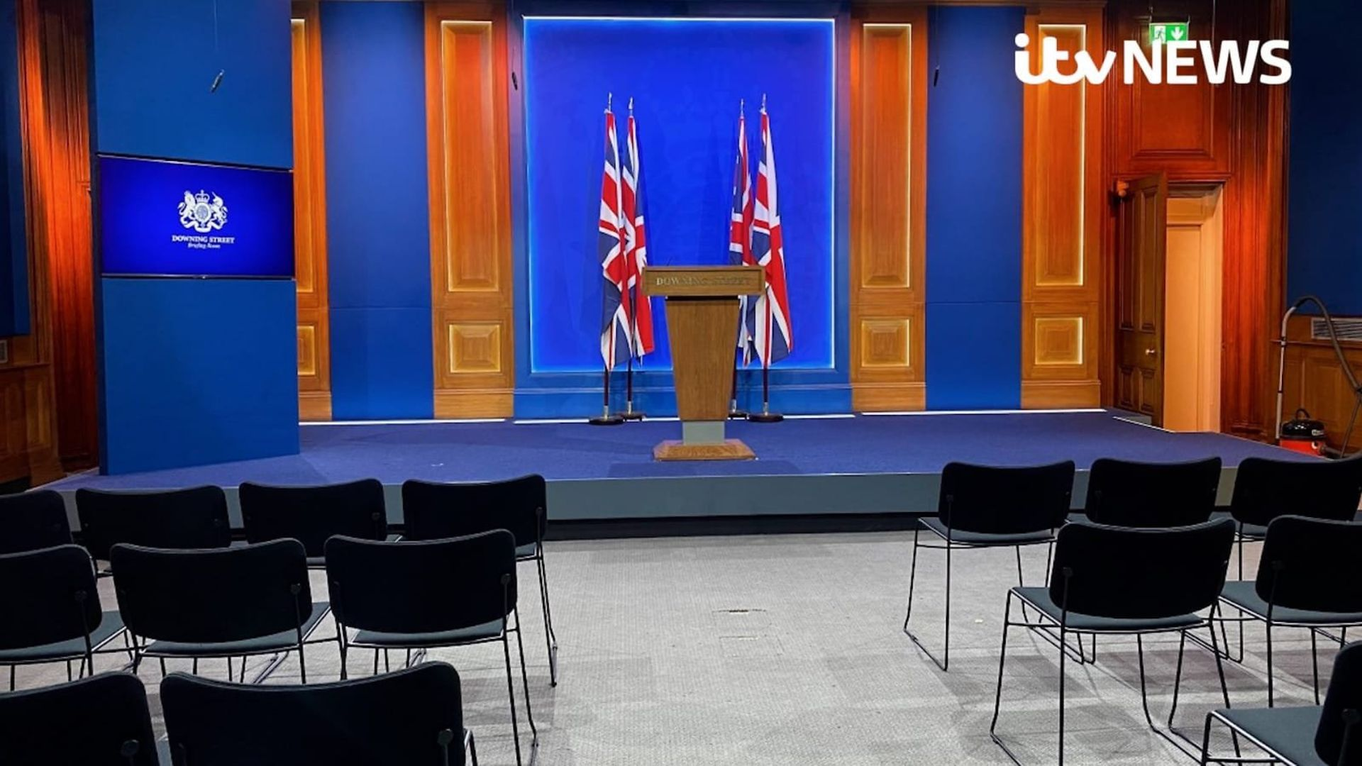 The new No. 10 Downing Street press briefing room, built at a cost of just £2.6million - Credit: ITV News