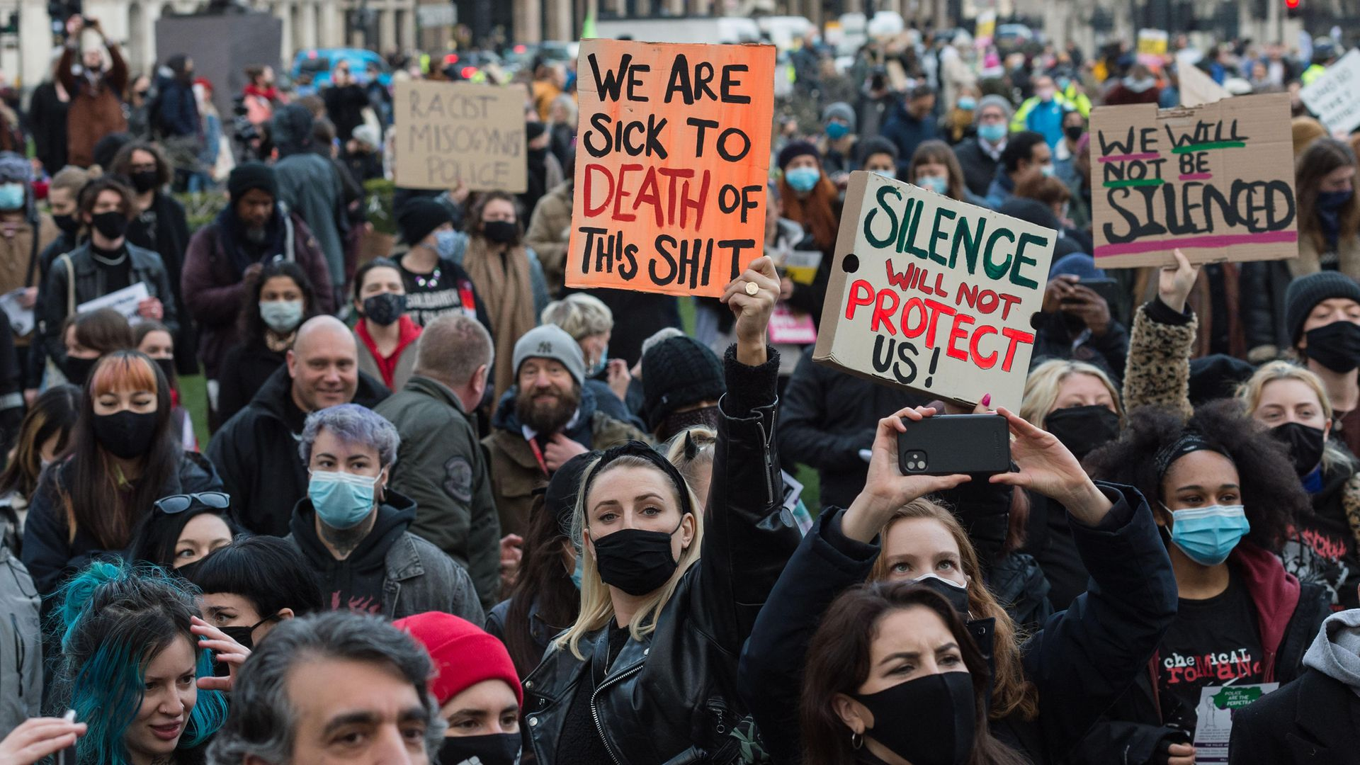 Protesters demonstrate in Parliament Square against governments proposed Police, Crime and Sentencing Bill - Credit: Barcroft Media via Getty Images