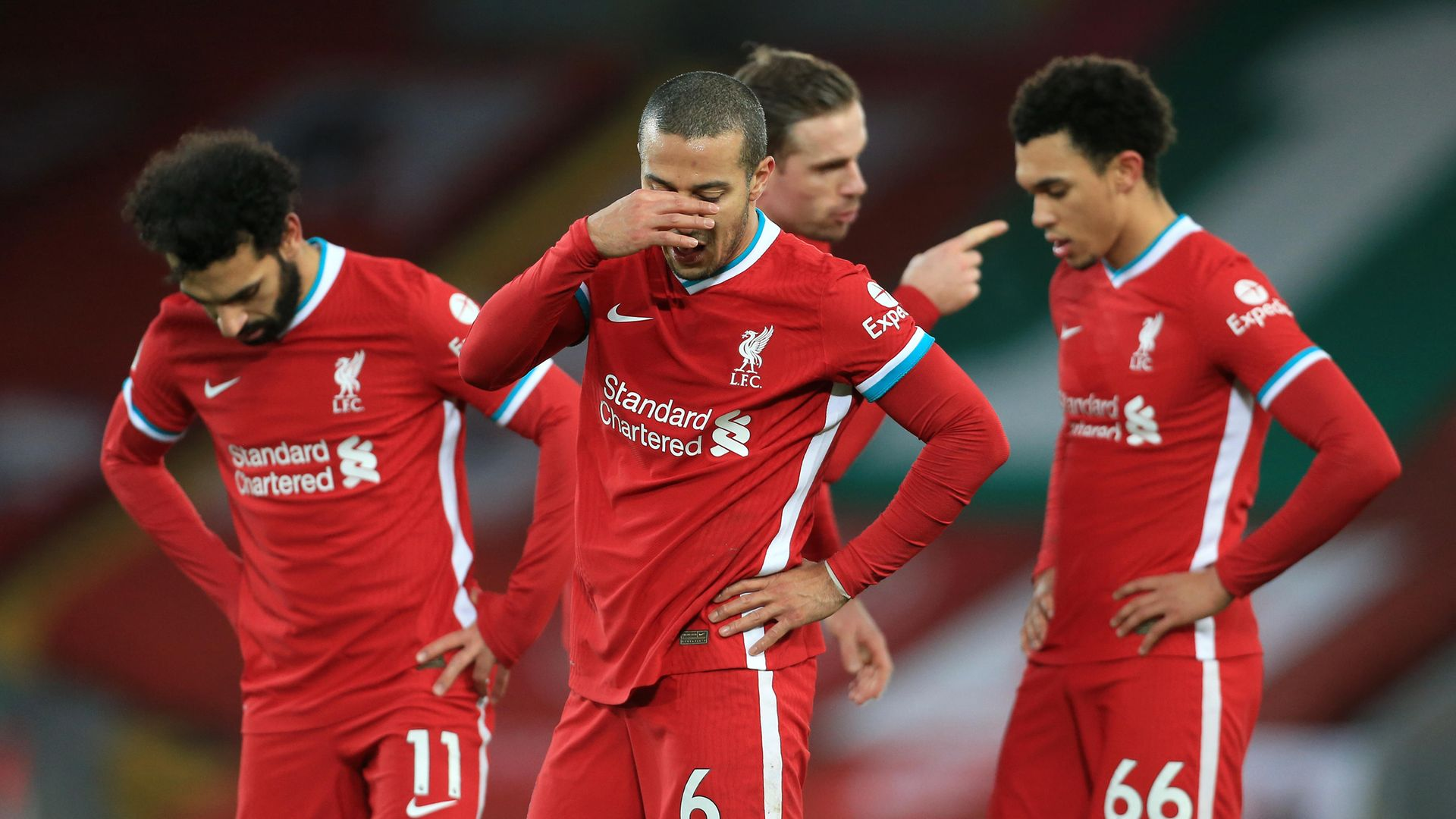Thiago Alcantara of Liverpool looks dejected during their 4--1 Premier League home defeat by Manchester City at Anfield on February 7, 2021 - Credit: Photo by Simon Stacpoole/Offside/Offside via Getty Images