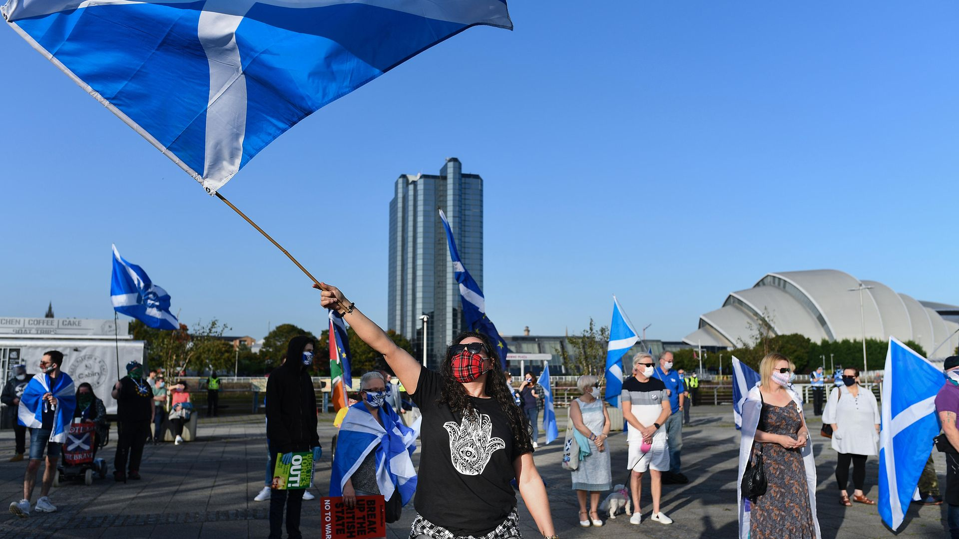 Campaigners for an independent Scotland hold a socially-distanced rally in September 2020 - Credit: Getty Images