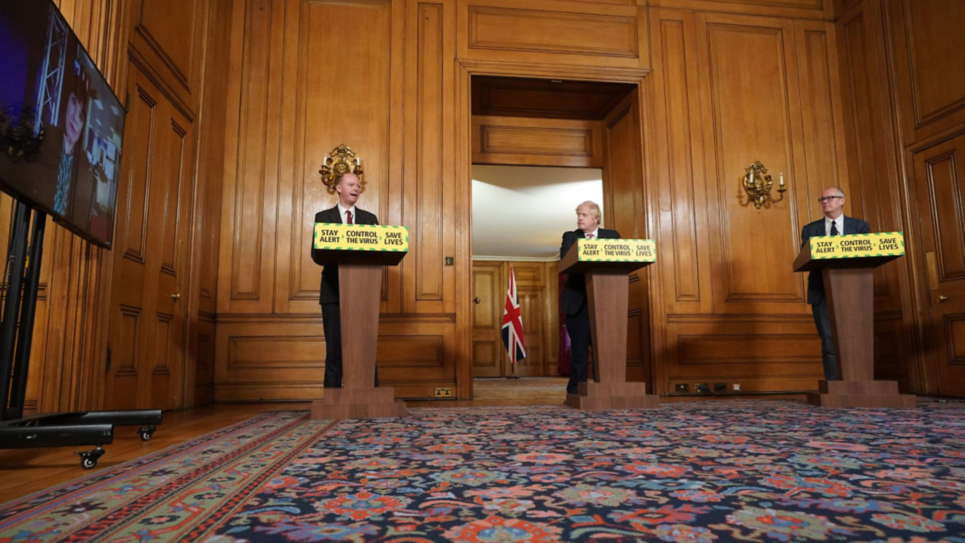 Chief Medical Officer for England Chris Witty, Prime Minister Boris Johnson, Chief Scientific Adviser Sir Patrick Vallance during a media briefing in Downing Street - Credit: PA