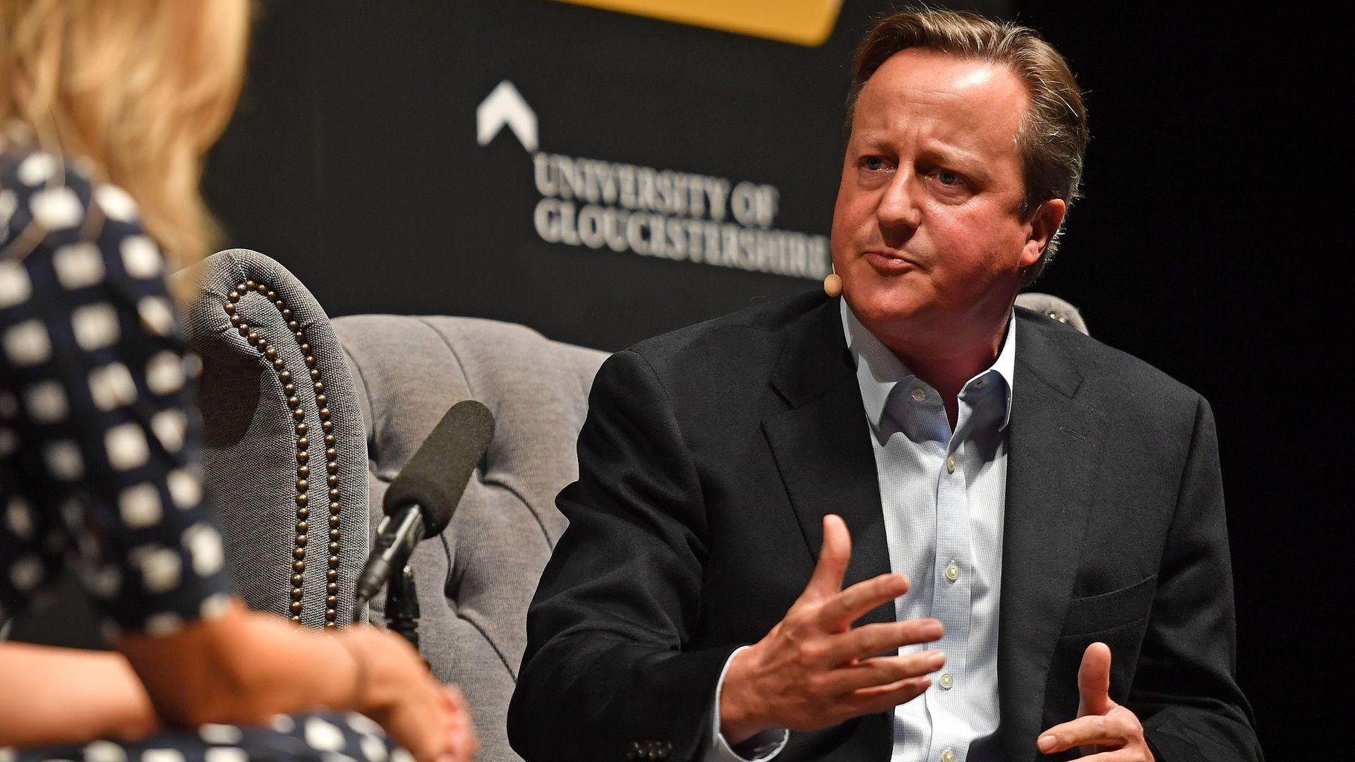 David Cameron speaking to Sophie Raworth during the Cheltenham Literature Festival at Cheltenham Racecourse. - Credit: PA