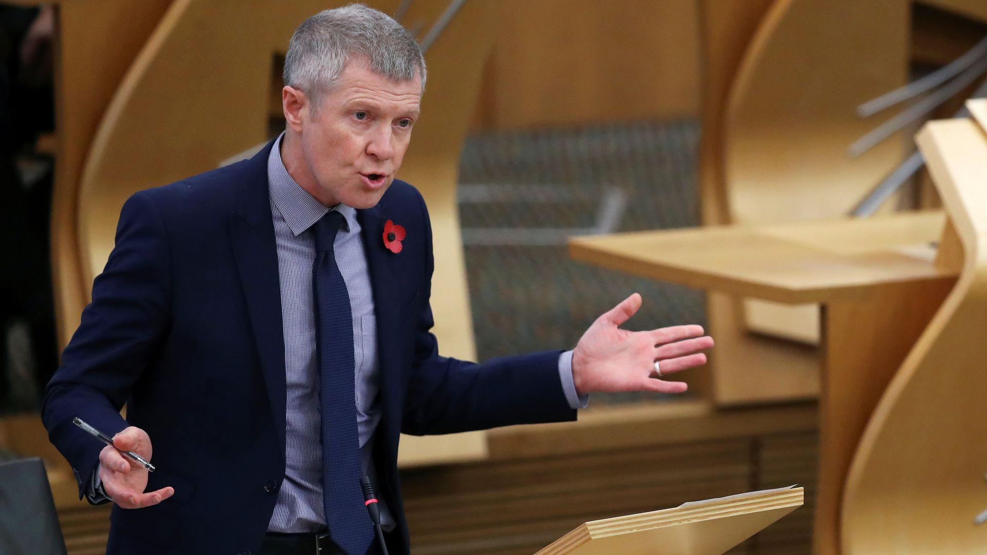 Scottish Liberal Democrats leader Willie Rennie attends First Minister's Questions at the Scottish parliament in Edinburgh - Credit: PA