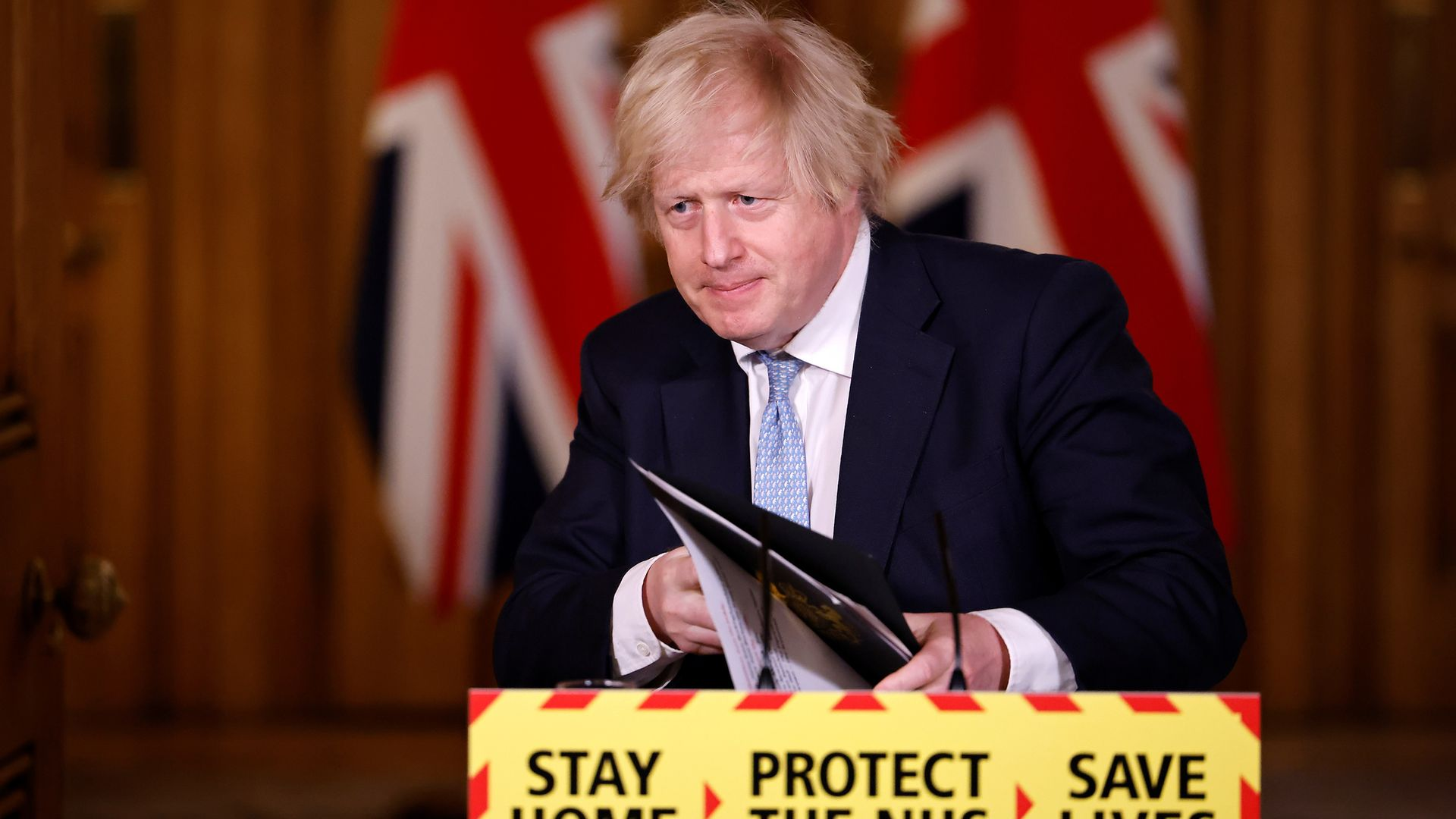 Prime minister Boris Johnson, during a media briefing in Downing Street, London, on coronavirus (Covid-19) - Credit: PA