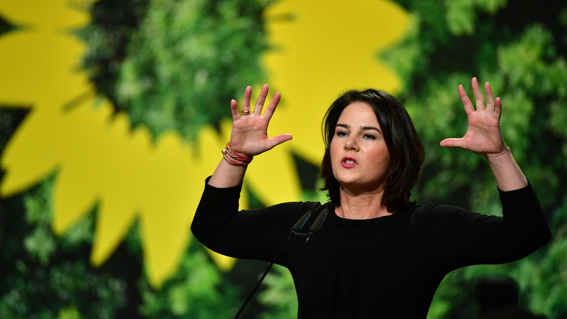 Annalena Baerbock delivers a speech at Germany's Green Party conference in 2019 - Credit: Getty Images