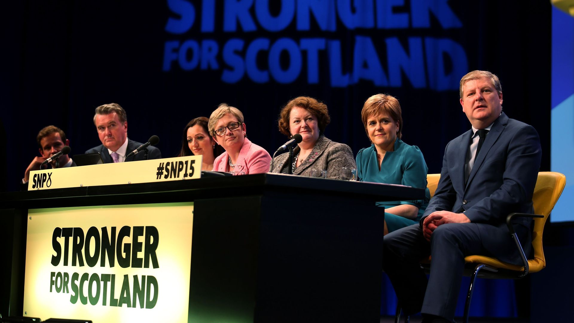 Nicola Sturgeon on a panel at an SNP conference - Credit: PA
