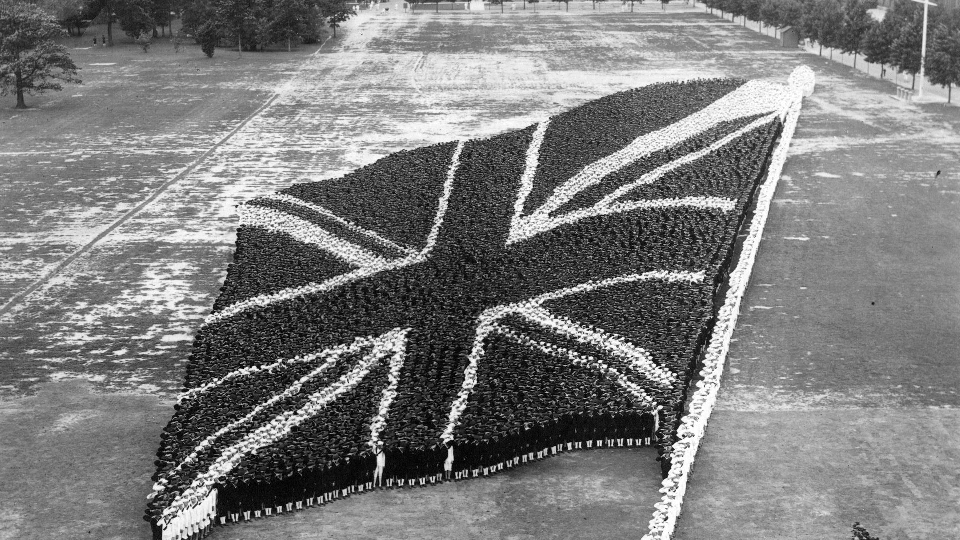 Men at the United States Naval Training Station, in Illinois, create a Union flag. circa 1917-1918. - Credit: Getty Images