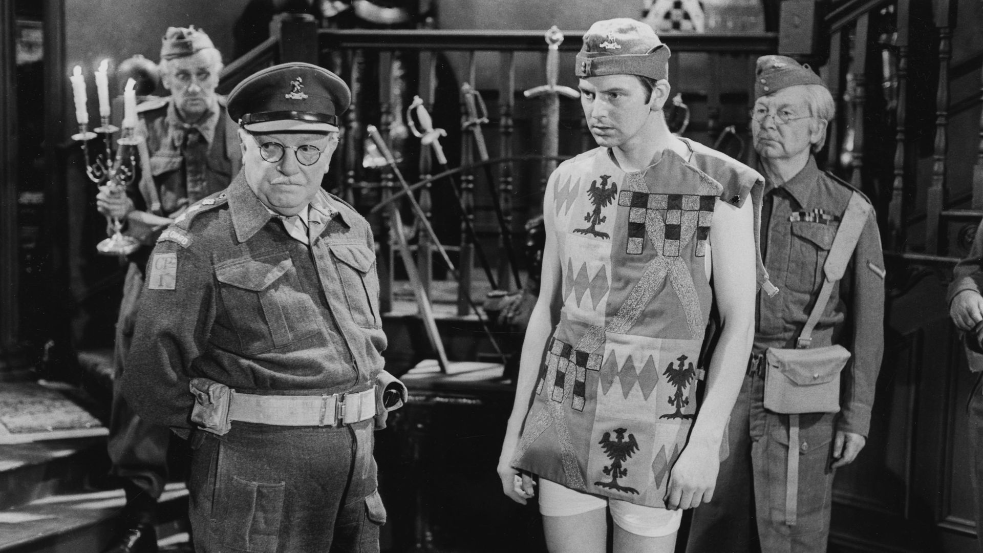 From left: John Laurie (behind), Arthur Lowe, Ian Lavender and Clive Dunn in a scene from the Dad's Army episode Things That Go Bump in the Night, from 1973 - Credit: Getty Images