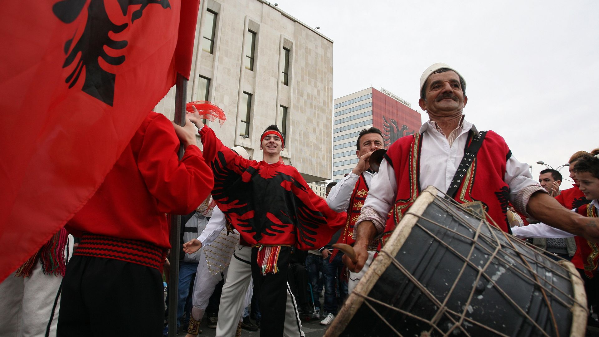 BANGING THE DRUM: Albanians in Tirana celebrate the 100th anniversary of independence from the Ottoman Empire in November, 2012 - Credit: AFP via Getty Images