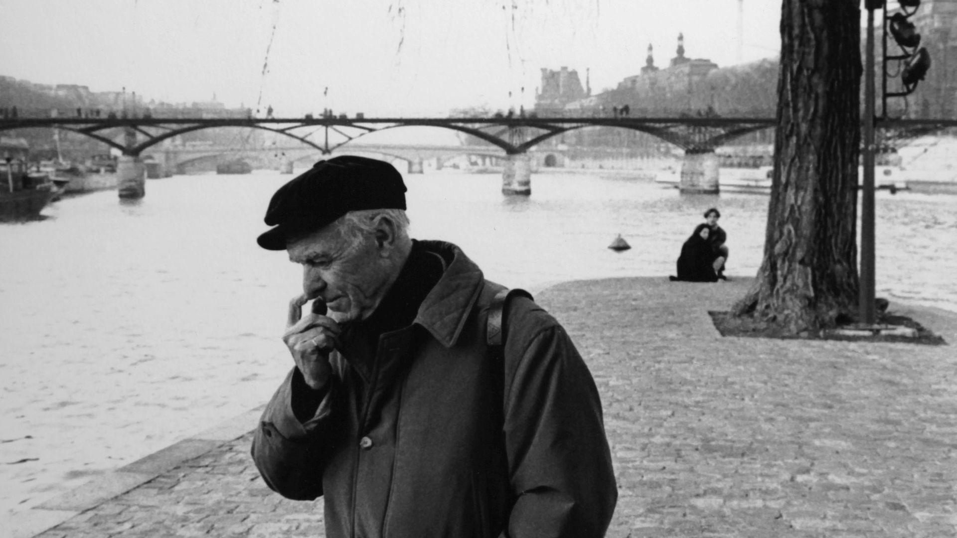 Robert Doisneau in the Square du Vert Galant, in Paris, in 1993 in Paris, France - Credit: Gamma-Rapho via Getty Images