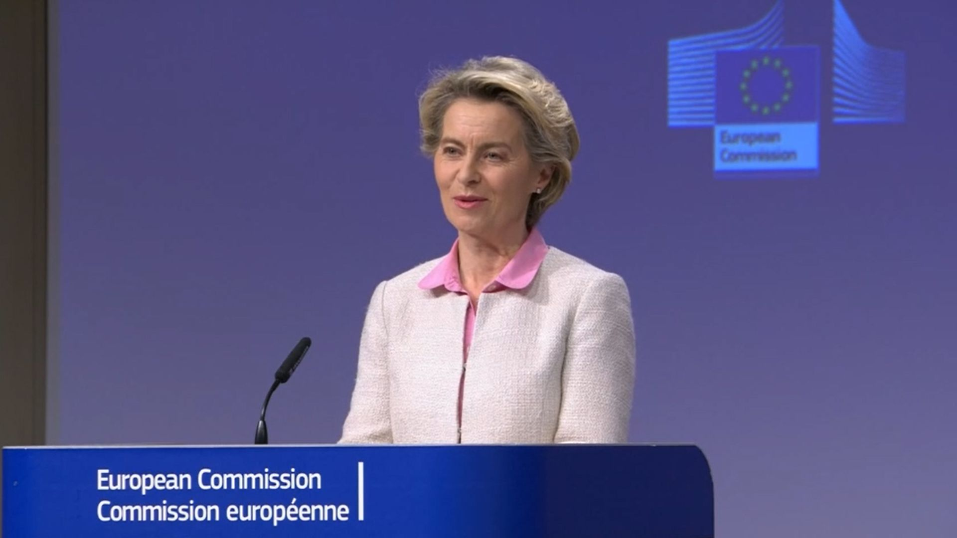 Screen grab of European Commission president Ursula von der Leyen during a media briefing in Brussels - Credit: PA