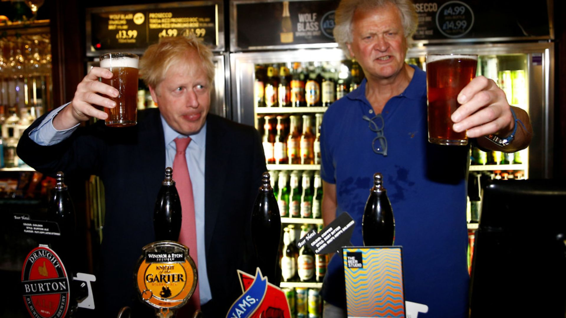 Boris Johnson during a visit to Wetherspoons Metropolitan Bar in London with Tim Martin, Chairman of JD Wetherspoon - Credit: PA