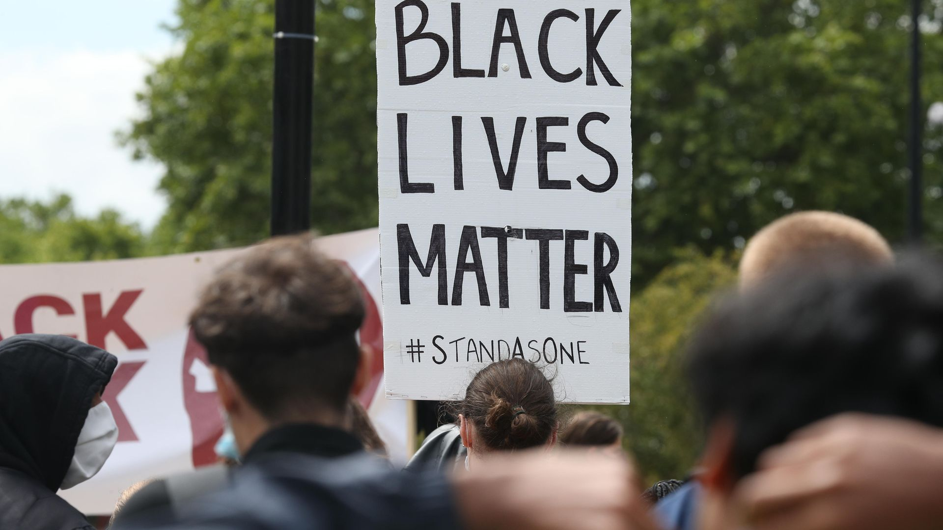 Demonstators during a Black Lives Matter protest at Marble Arch, central London, sparked by the death of George Floyd, who was killed on May 25 while in police custody in the US city of Minneapolis - Credit: PA