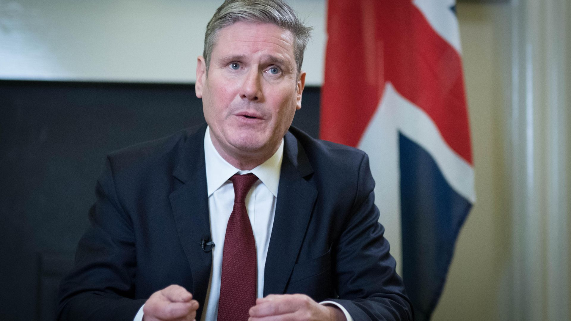 Labour leader Sir Keir Starmer delivering a statement from his office in the House of Commons in central London - Credit: PA
