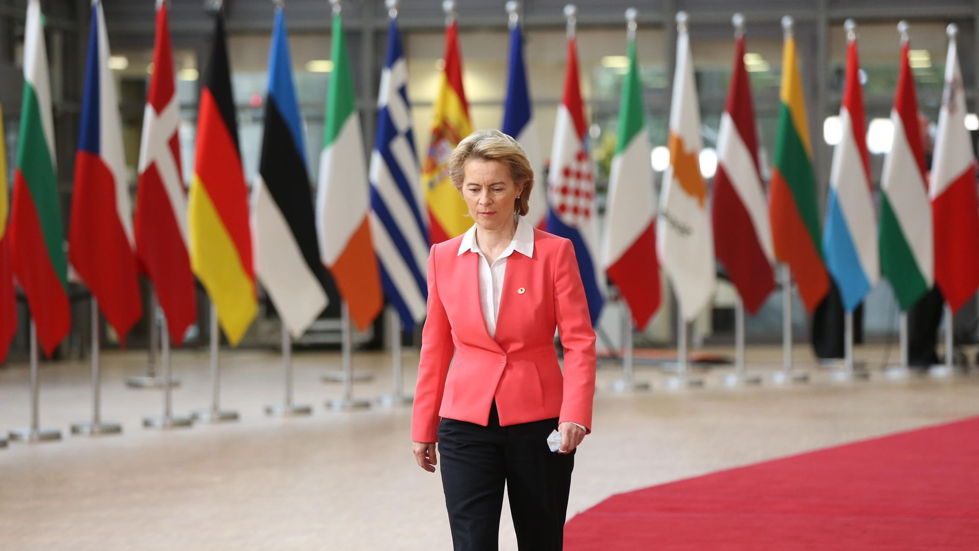EUROPE'S FALL GUY: Ursula von der Leyen arrives for an EU summit on Covid in July 2020 - Credit: Getty Images