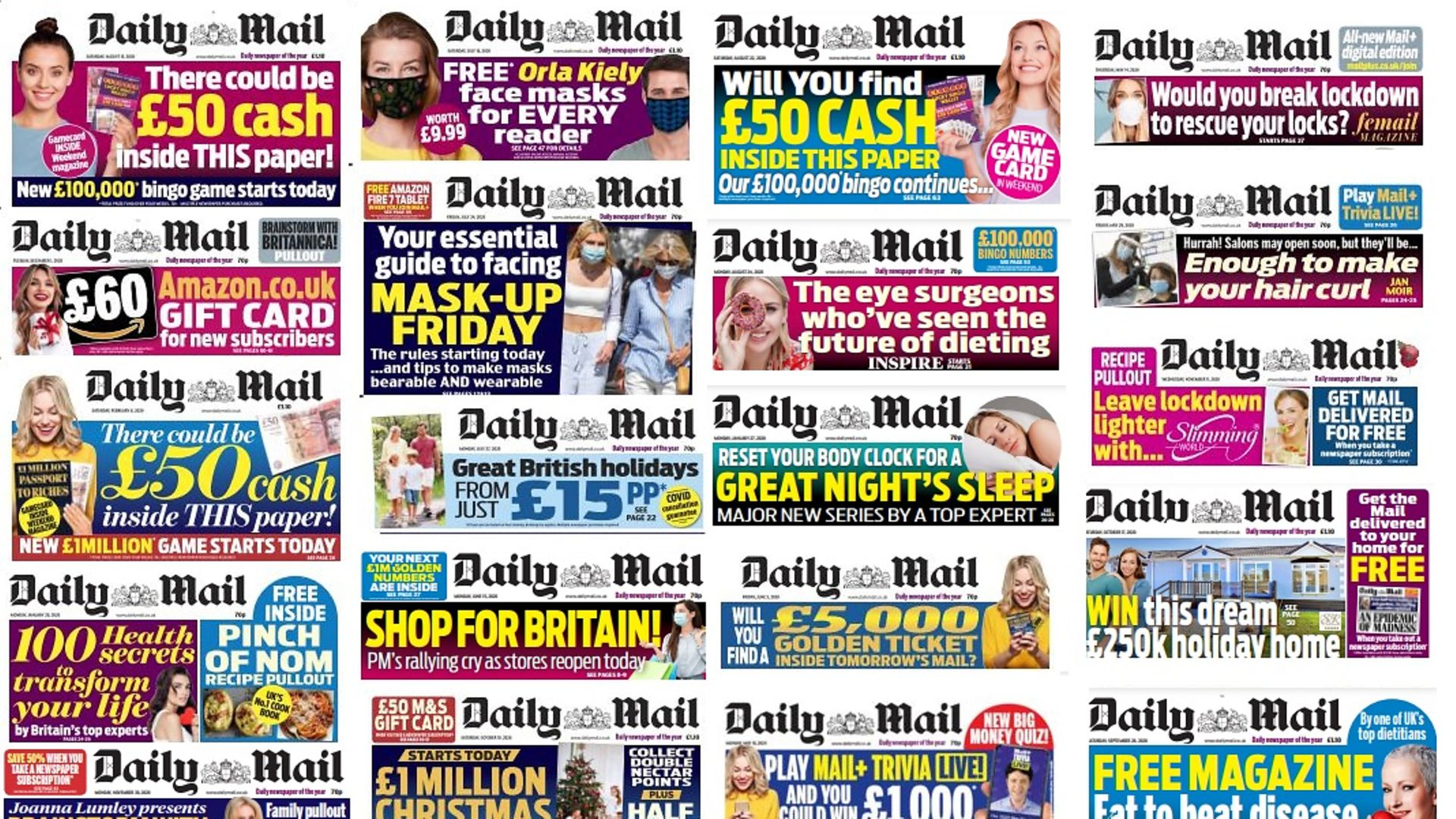 A selection of front page blurbs from the Daily Mail featuring exclusively white people - Credit: The New European