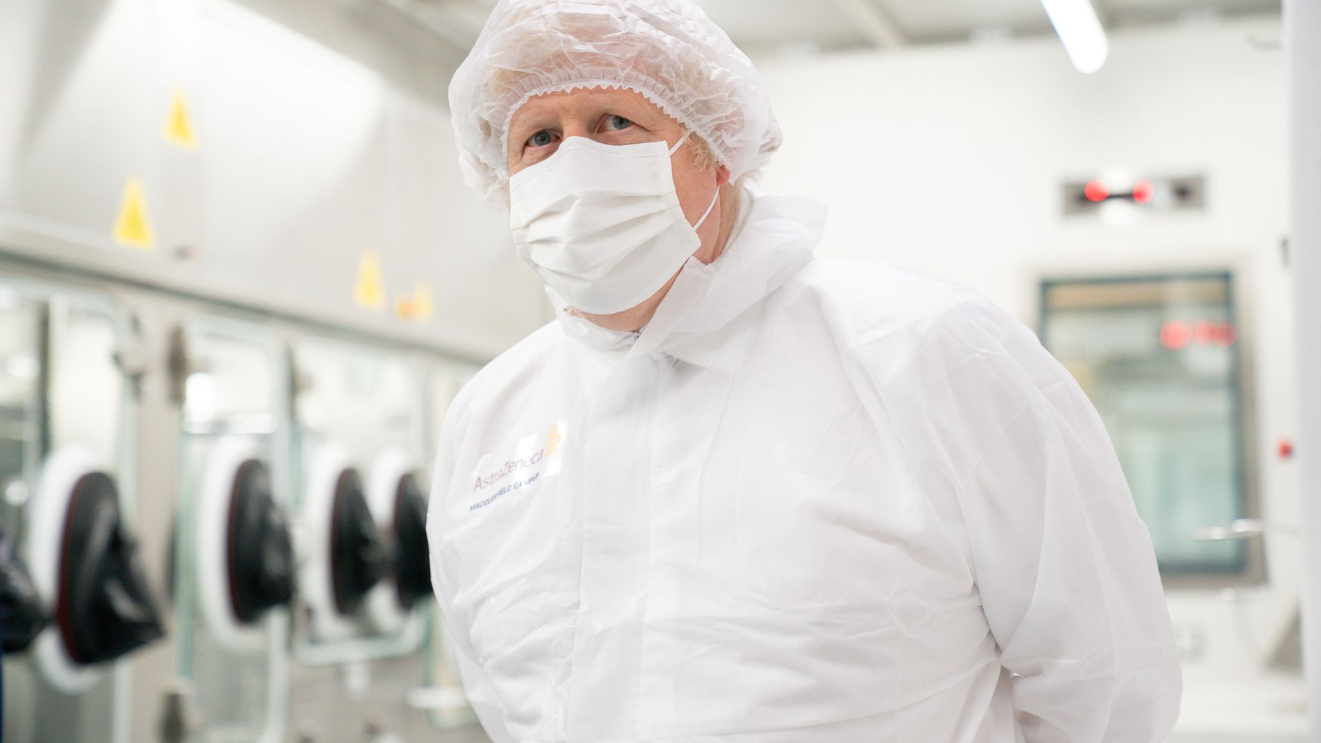 Prime Minister Boris Johnson during a visit to the AstraZeneca site in Macclesfield, Cheshire - Credit: PA