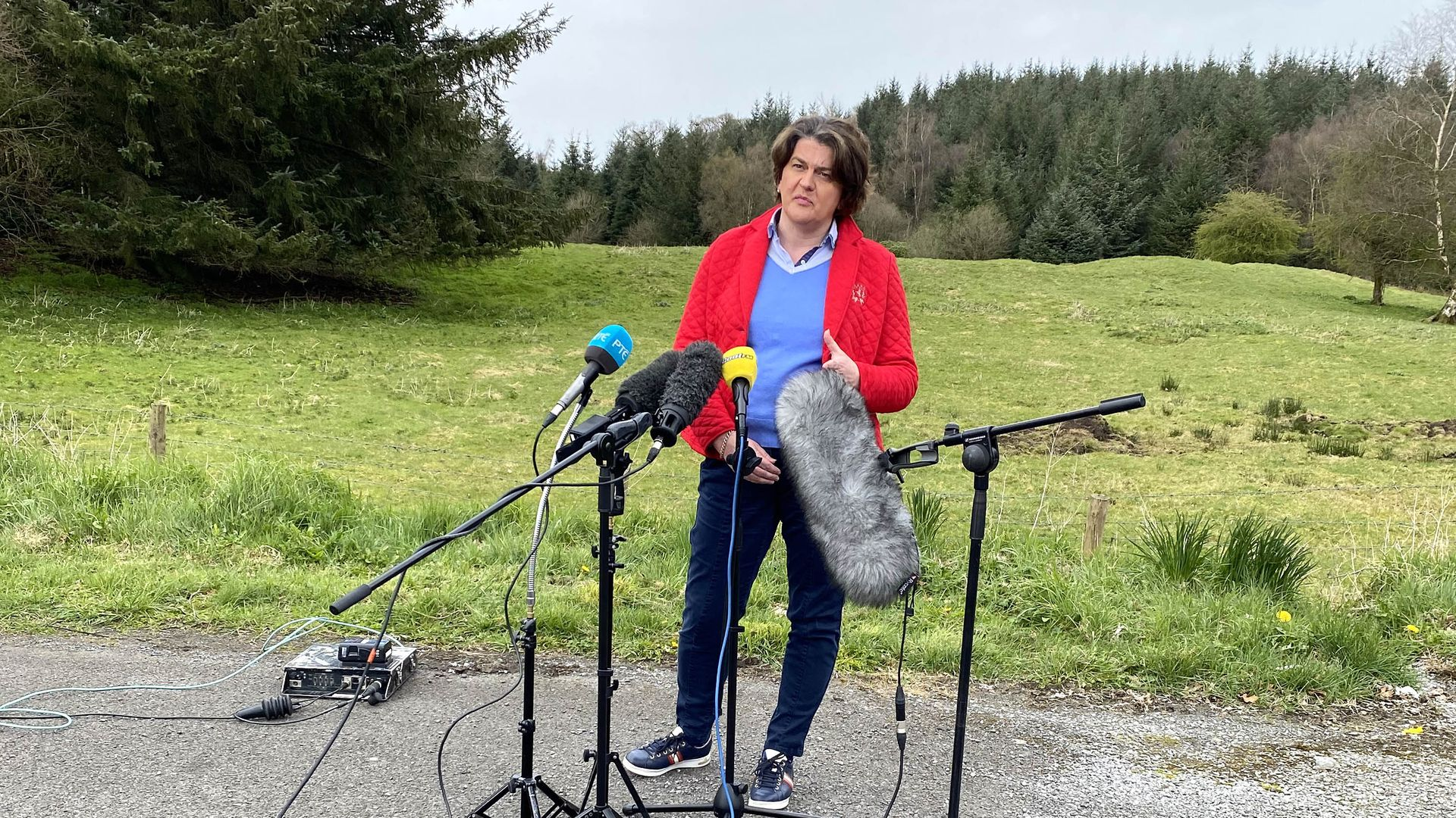 Northern Ireland First Minister Arlene Foster speaking in Co Fermanagh in Northern Ireland blamed 'malign' criminal elements for whipping up young people involved in recent violence across parts of Northern Ireland - Credit: PA