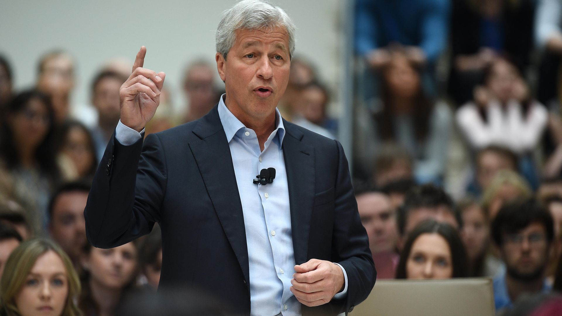 James Dimon, president and chief executive officer of JPMorgan Chase, speaking at JP Morgan's Bournemouth corporate centre in Dorset. - Credit: PA