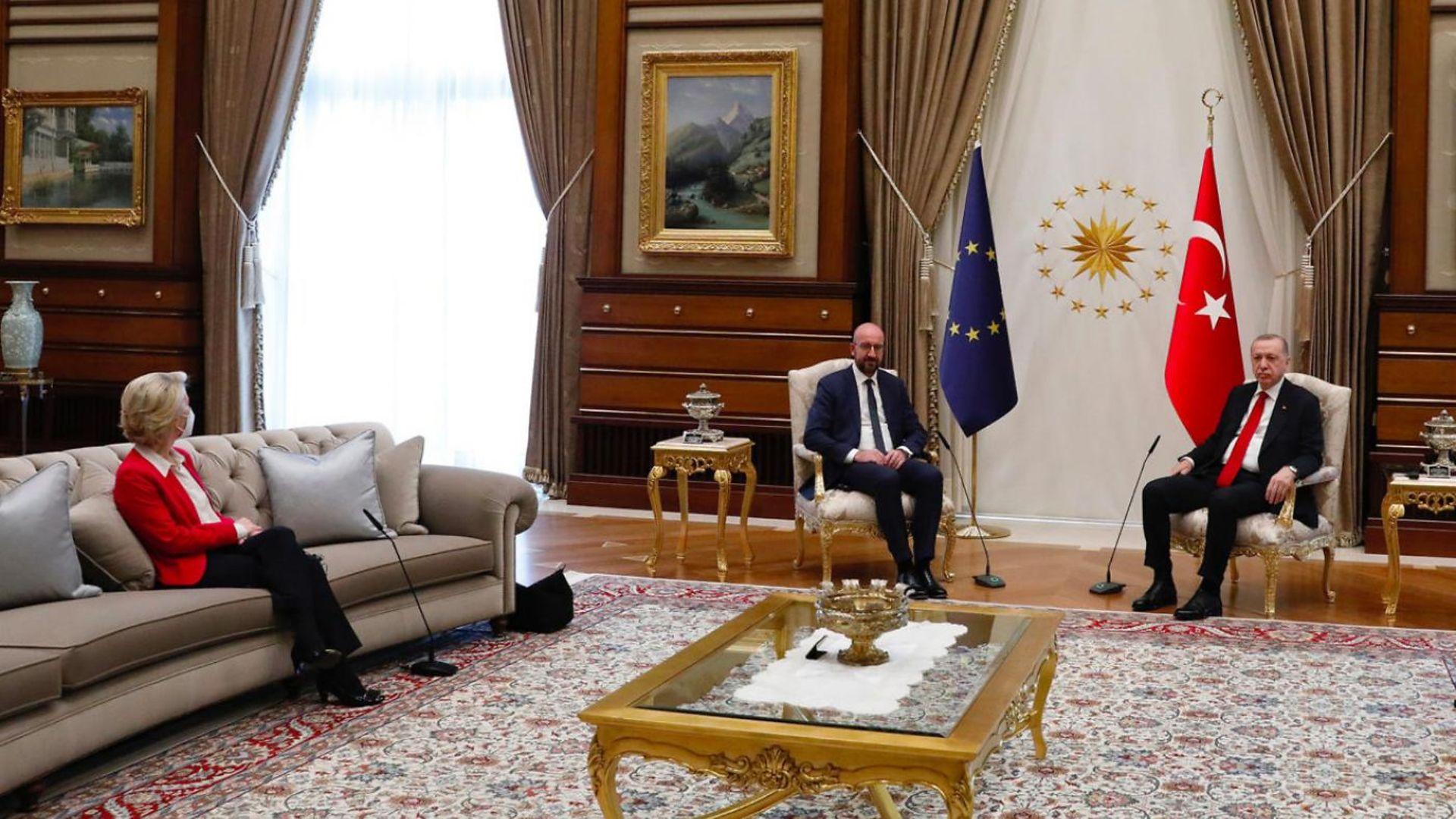 European Commission president Ursula von der Leyen with European Council president Charles Michel and Turkish president Recep Tayyip Erdogan - Credit: European Union