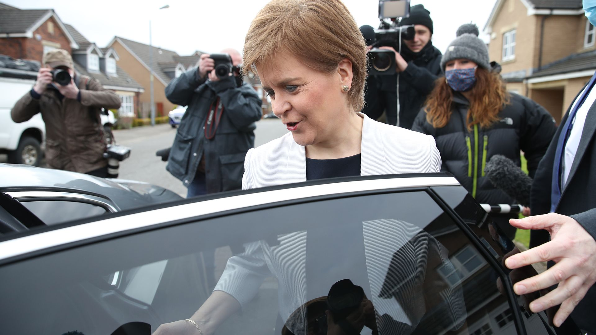 First minister of Scotland, Nicola Sturgeon, leaves her home in Glasgow - Credit: PA
