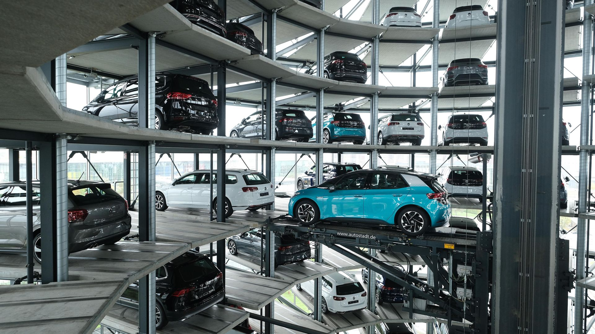 A Volkswagen ID.3 electric car stands on an elevator platform inside one of the twin towers used as storage at the Autostadt promotional facility next to the Volkswagen factory in Wolfsburg, Germany. The ID.3 and somewhat bigger ID.4 are Volkswagen's first real effort to break into the growing electric car market and are aimed for mass appeal - Credit: Getty Images