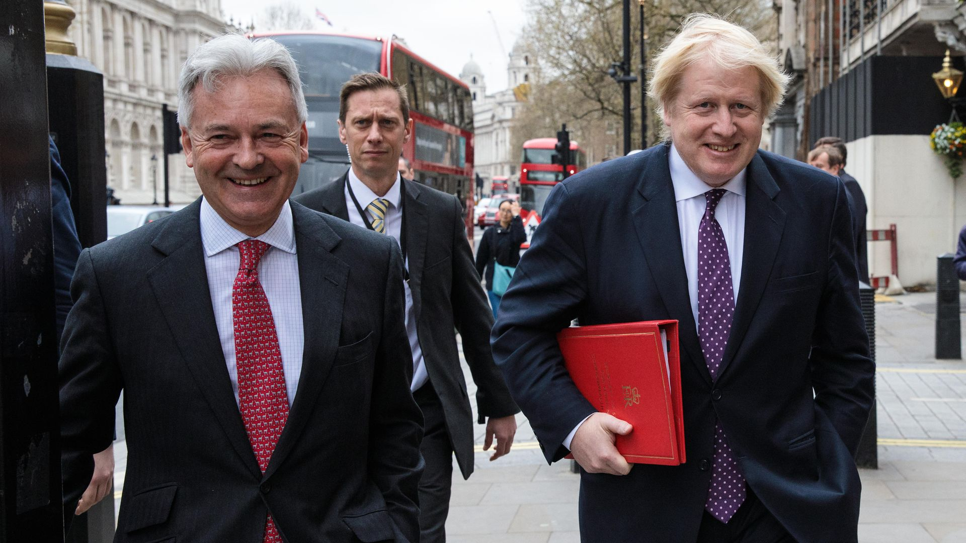Sir Alan Duncan (L) and  Boris Johnson (R) walk down Whitehall on March 29, 2017 - the day Theresa May triggered Article 50 - Credit: Photo by Jack Taylor/Getty Images